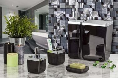 Primanova Toskana 5 Parça Banyo Seti Şeffaf Siyah Renkli